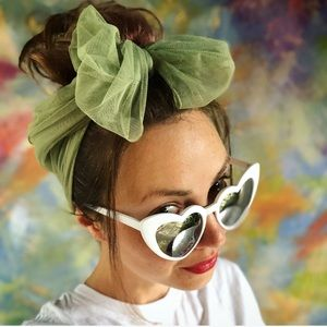 Pinup Vintage Hair Scarf - Oblong Pale Green